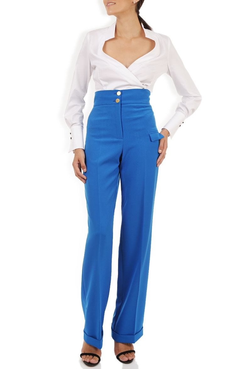 Pantaloni albastri cu talie inalta