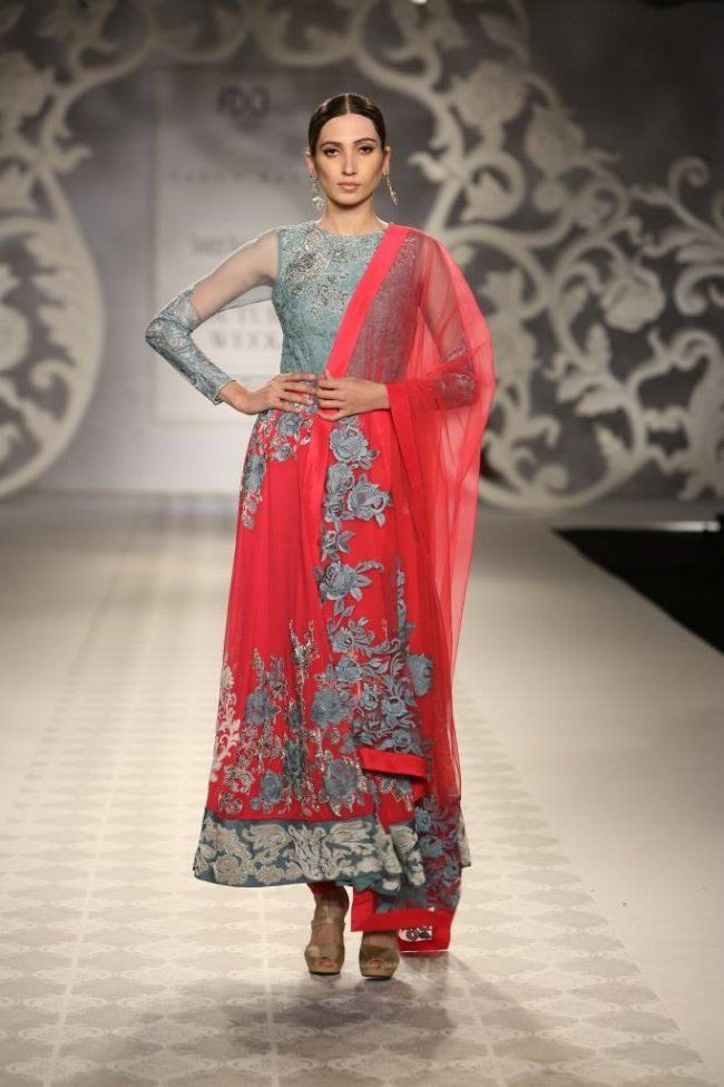 Varun Bahl at India Couture Week - red grey long sleeved anarkali