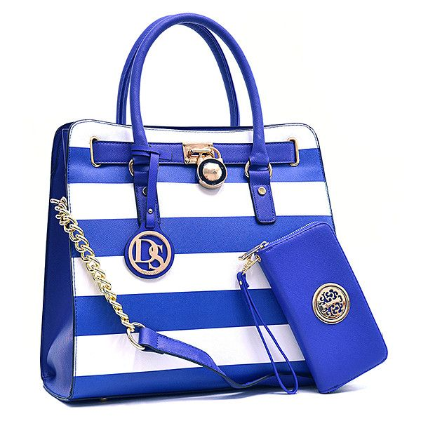Dasein Blue Stripe Lock Tote & Wallet ($37) ❤ liked on Polyvore featuring bags, blue tote bag, lock bag, vegan leather tote bag, stripe tote bag and striped tote bag