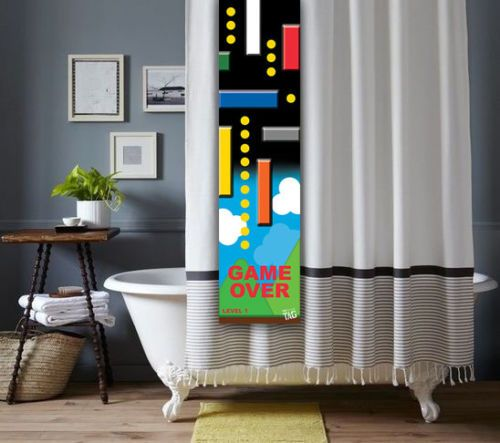 Video Game Shower Tag For A Bathroom Shower Curtain Pac Man Mario Tetris  GTAV