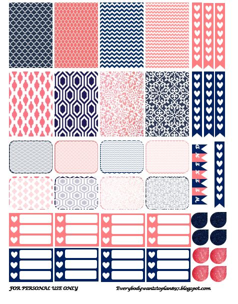 Free Navy and Coral Planner Stickers | Everybody Wants To Plan