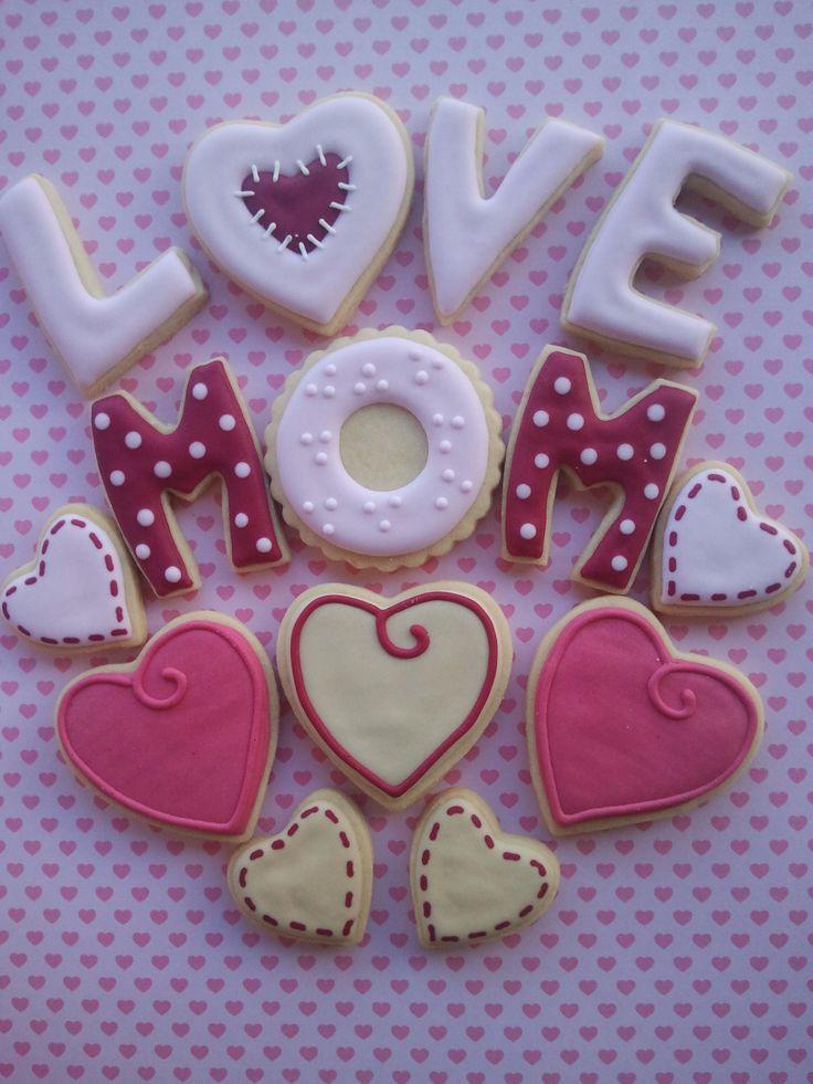 Dia das Mães, corações, cookies, biscoitos decorados | by Cookie Design