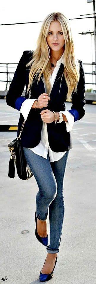 Black and white with a touch of blue. I could take off the blazer and wear this outfit on the weekends