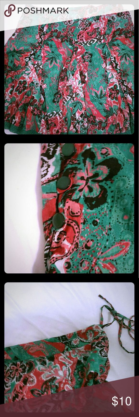 Fun drawstring waist skirt Floral skirt beautiful and fun to wear. Bright colors, drawstring waist and embroidered hemline. Truly one size but labeled a Large. XOXO Skirts A-Line or Full