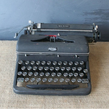 "Although this 1940s typewriter could use a tune-up and a little care, the glass keys and industrial style are worth the effort. This vintage product is in fair ""as-found"" condition. In working order.  Another vintage typewriter for sale in modern times, this one for ""only"" $85."