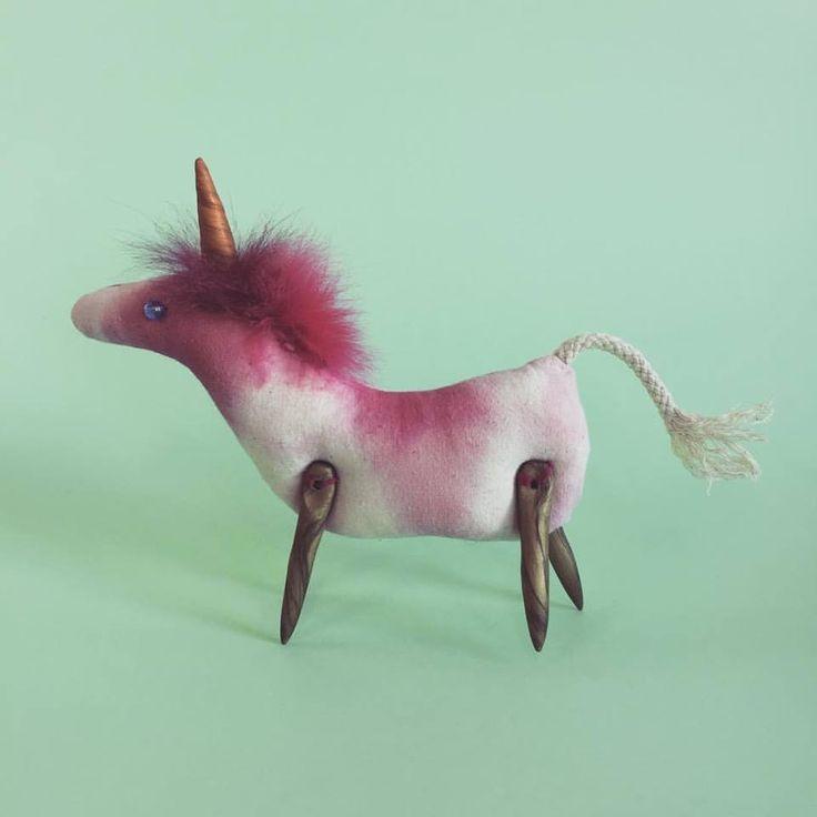 Handmade textile unicorn. Hand-dyed.