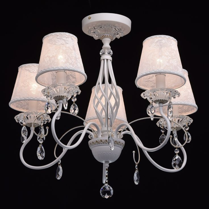 Exquisite cei;ing chandelier white metal and fabric shades colour clear crystal drops 5 arms MW-LIGHT Retro 419010805