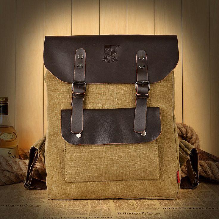 Преппи винтажный мужчины натуральная кожа и брезент мужчины в рюкзак англия колледж ретро мужчины мешок плечо сумки ZB-146