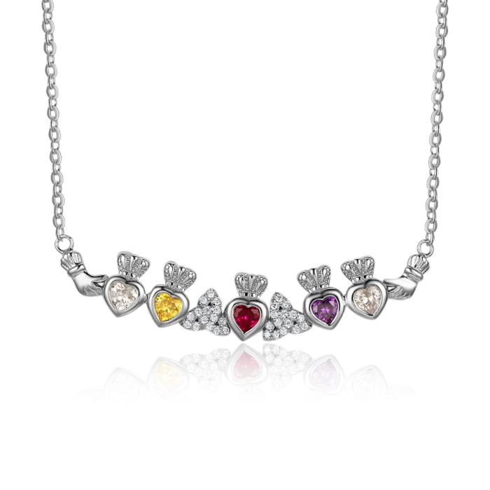 Post Included Aus Wide and to most international countries! >>>  Claddagh Quintet Birthstone Hearts Necklace - 925 Sterling Silver