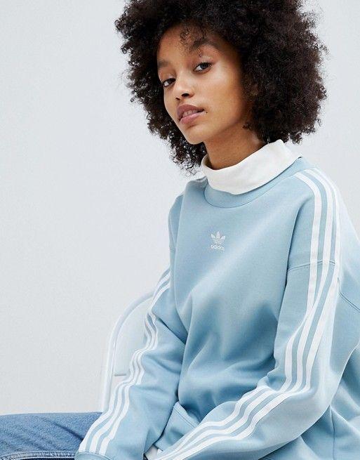 adidas Originals adicolor Three Stripe Sweatshirt In Blue