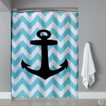 Aqua Blue Anchor Custom Phone Case Shower Curtain