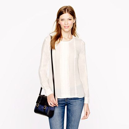 I would love a cute blouse :) J.Crew - Pleated lace-stripe silk blouse in blue