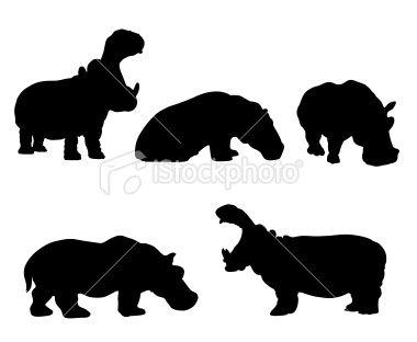 Hippo silhouette set Royalty Free Stock Vector Art Illustration