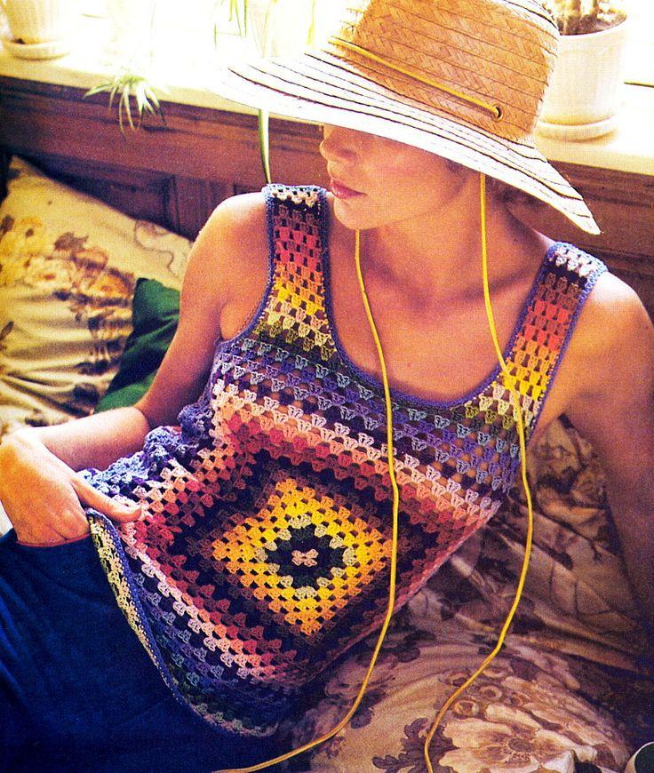 Vintage 1970s Granny Squares Tank Top Sexy Boho Pullover Vest Crochet Pattern PDF. $3.00, via Etsy.