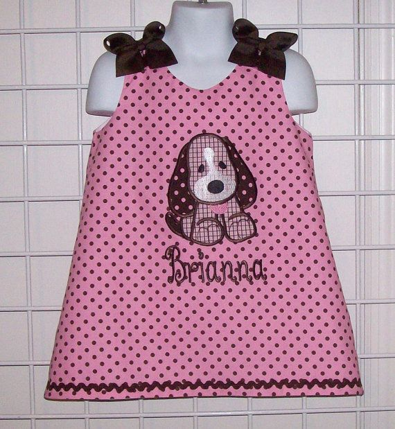 Pink with Brown Dot Plaid Puppy Dog Applique Monogram A-line