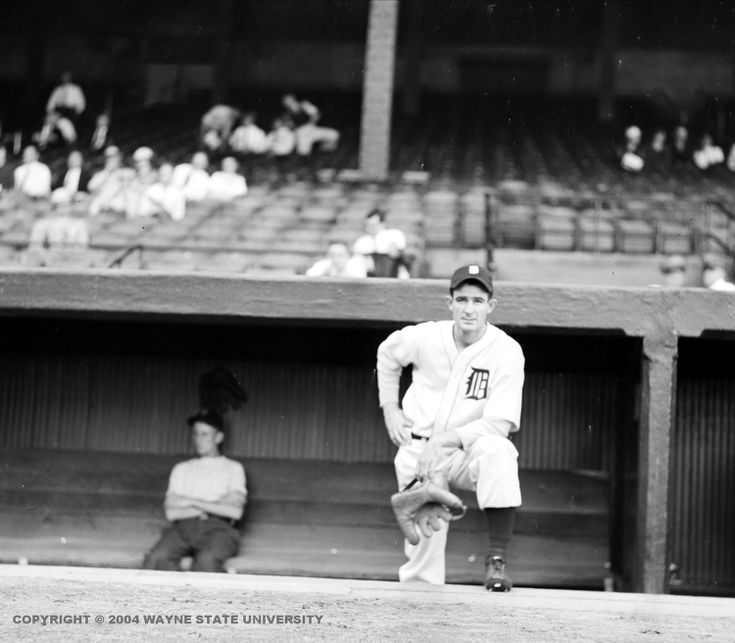 Pitcher Elden Auker, who struck out Babe Ruth in his first appearance on the mound for the Tigers, in the Navin Field dugout.