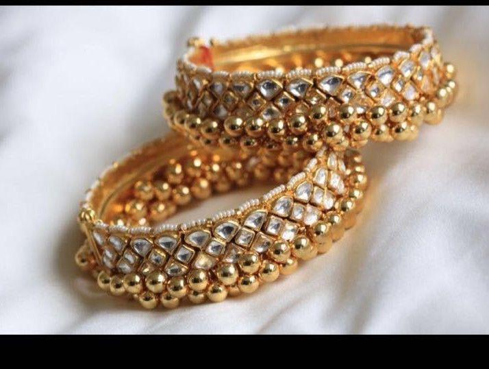 a55f48ebb83ad Gold Plated Kundan Bangles Meenakari Women's Kangan Bracelet Wedding ...