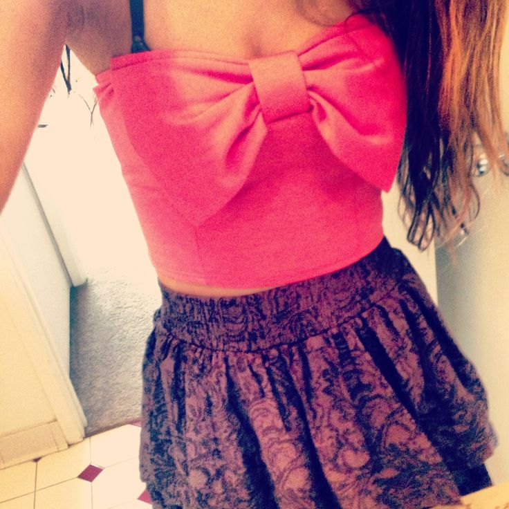 Bow crop top from Pac Sun & high-waisted skirt from Aeropostale!
