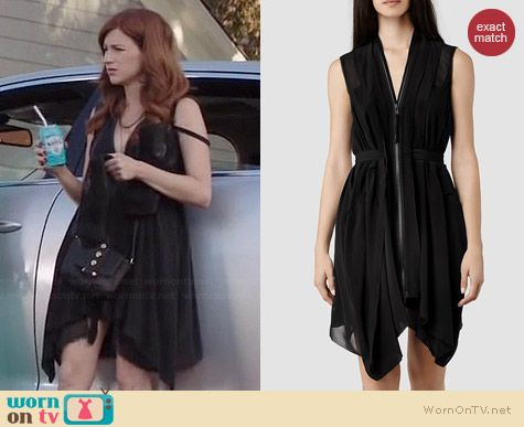 Gretchen's black zip front dress on You're The Worst.  Outfit Details: http://wornontv.net/36806/ #YouretheWorst
