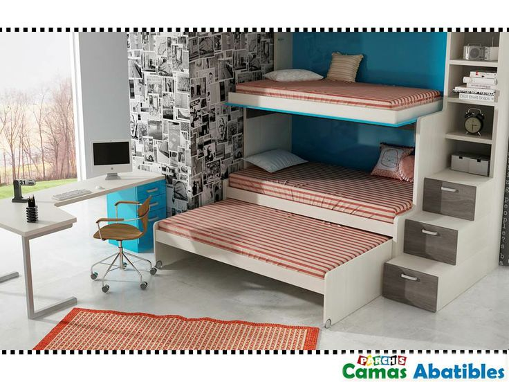 Literas triples literas fijas con tres camas dormitorios juveniles e infantiles compactos for Habitaciones juveniles 3 camas