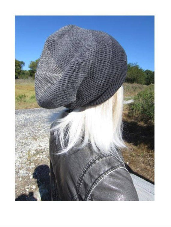 OMBRE Oversized Slouchy Tam Big Head Beanie Unique Charcoal Gray Stripe  Thick Warm Winter Knit Hat 9b101e2619c