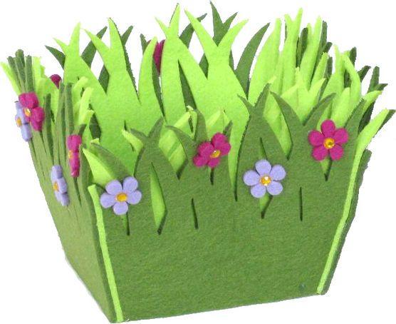 Holiday Inspirations Felt Easter Basket Purple Flower, , hi-res
