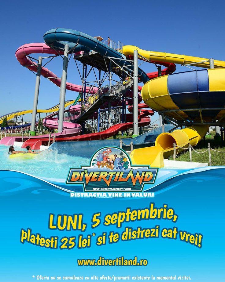 Luni, 5 septembrie, te asteptam cu o super oferta in #DivertilandWaterPark: platesti 25 lei si te distrezi cat vrei! :)