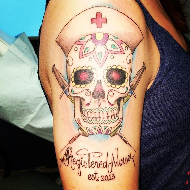 Sugar skull nurse tattoo