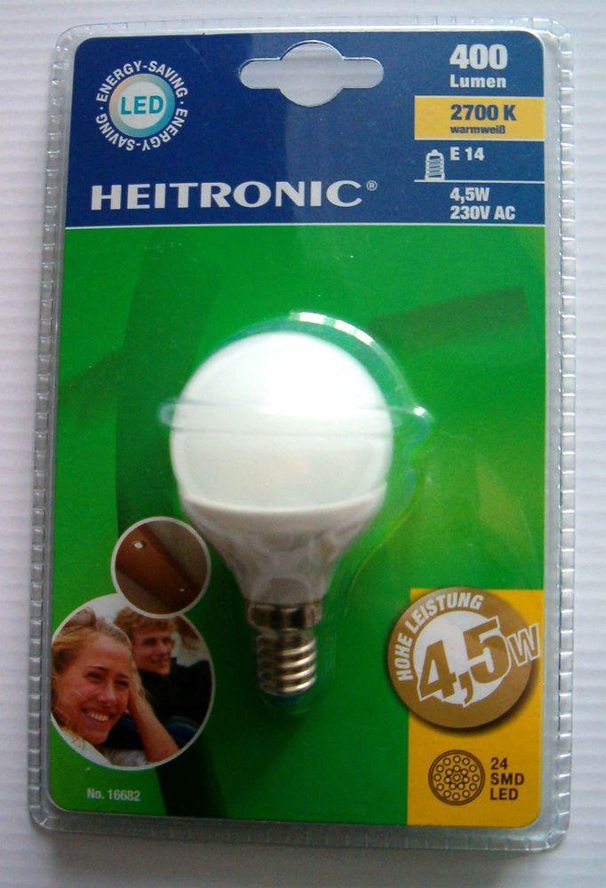 2 X LED Kugelbirne E14 Fassung 4,5 Watt / 400 Lumen  Deutsche Herstellung !