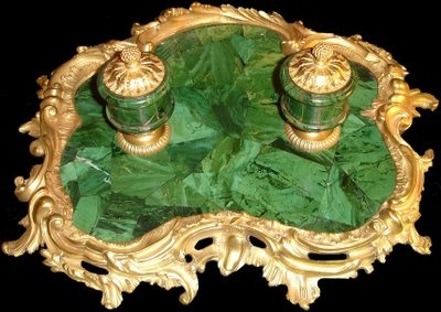 """antique malachite ecritoire (pronounced """"ay cree TWAHR"""" and meaning an ink stand). A beautiful ink stand."""