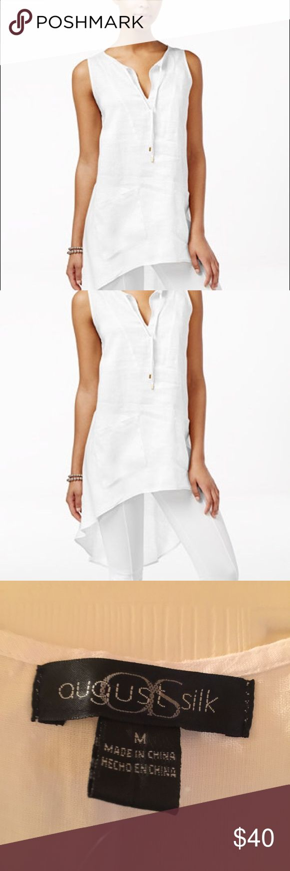 NWOT August Silk White Linen High-Low Tunic Lend a contemporary feel to your wardrobe with August Silk's linen tunic featuring a high-low hem and an effortlessly chic silhouette. This beautiful, elegant tunic is described as follows: V-neckline with tie front detail, pull-over style, sleeveless, machine wash, high-low hem, hits at hips, imported, unlined, and front pockets. August Silk Tops Tunics