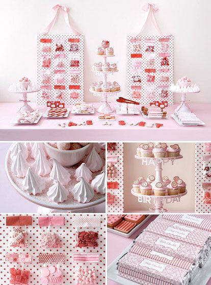 Wedding dessert tables and images by Amy Atlas Events, red and pink birthday party