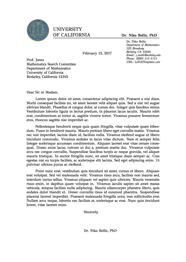 professional formal letter latex template