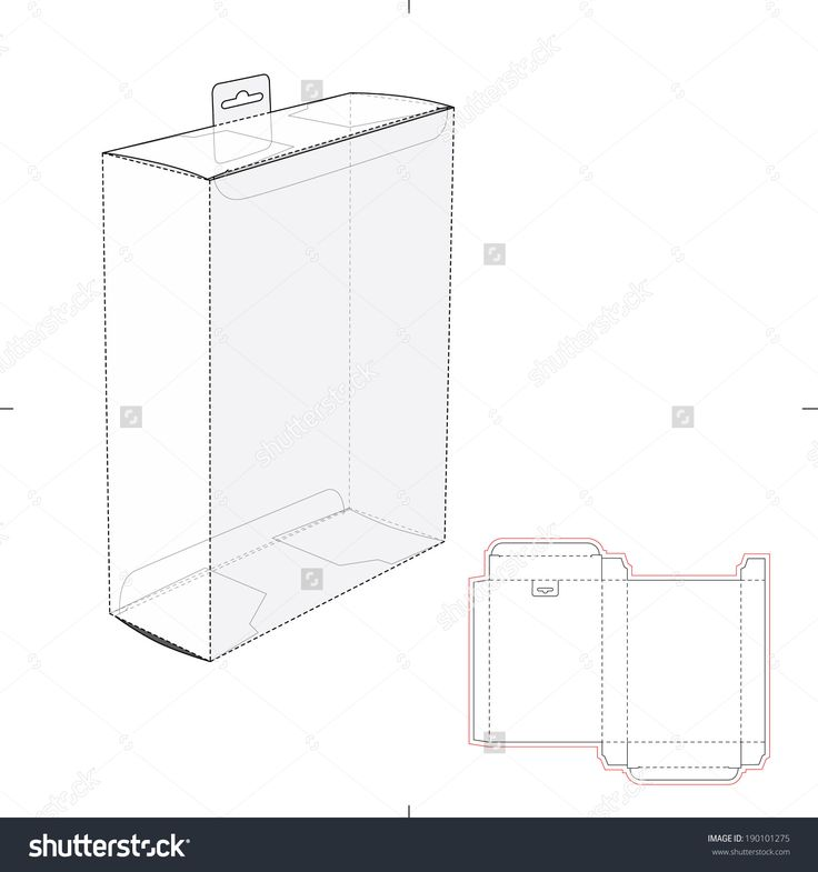 Box With Shelf Hanging Hole And Die Cut Layout Stock Vector Illustration 190101275 : Shutterstock