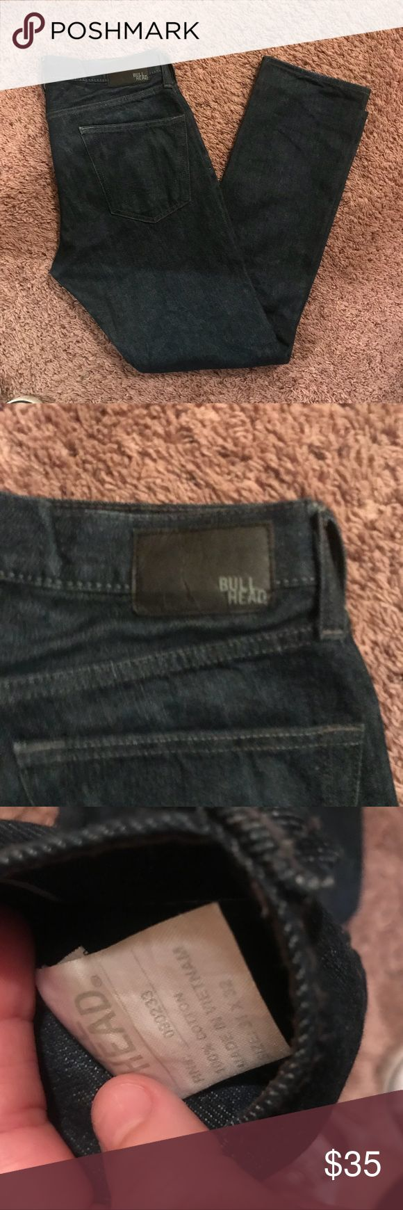 BullHead Mens Jeans Great gently used dark blue jeans condition 31x32 size, no flaws  Tags # fashion nova, brandy melville, abercrombie & fitch, sephora, American eagle, rag, Michael kors, Rachael roy, h&m, anthropologie, the north face, misguided, free people, j crew, urban outfitters, for love and lemons, lululemon, Adidas, Nike, puma, hollister, zara, rag and bone, guess, Nordstrom, Windsor, Naked, PINK, ninewest Bullhead Jeans Slim Straight