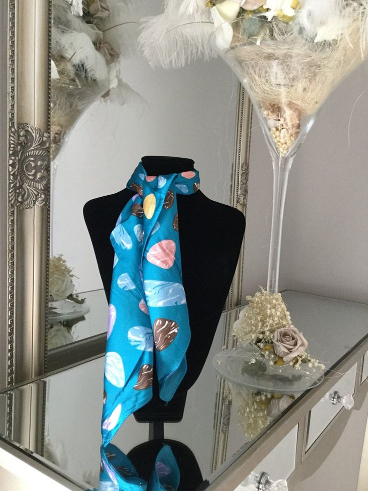 Turquoise and Multicolour Pebble Print Scarf stunning silk scarf is perfect to tie around your neck in numerous ways