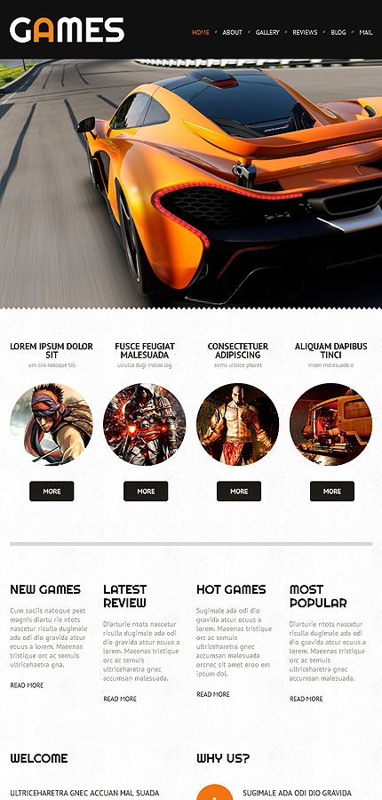 Games • Most Popular • Espresso Web Inspiration at your Coffee Break!  WordPress • Template #52997
