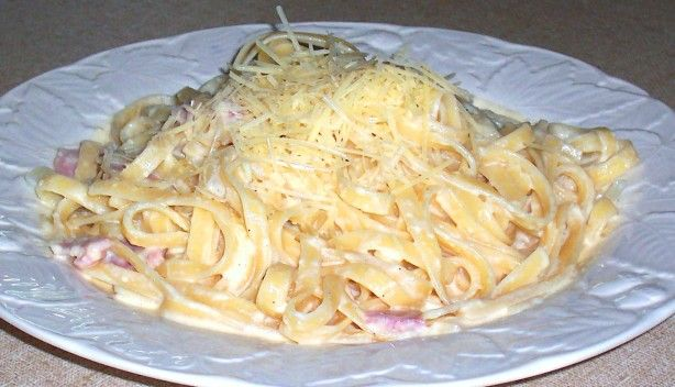 This is one of my favourite recipes because it is so easy and can be made in a low fat version (see my low-fat fettucine carbonara version recipe)