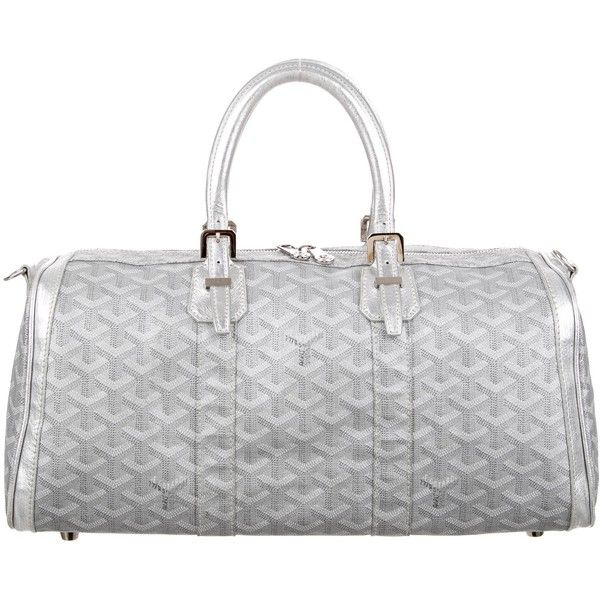 Pre-owned Goyard Goyardine Croisiere 35 ($895) ❤ liked on Polyvore featuring bags, handbags, metallic, white hand bags, man bag, goyard purse, metallic handbags and silver metallic purse