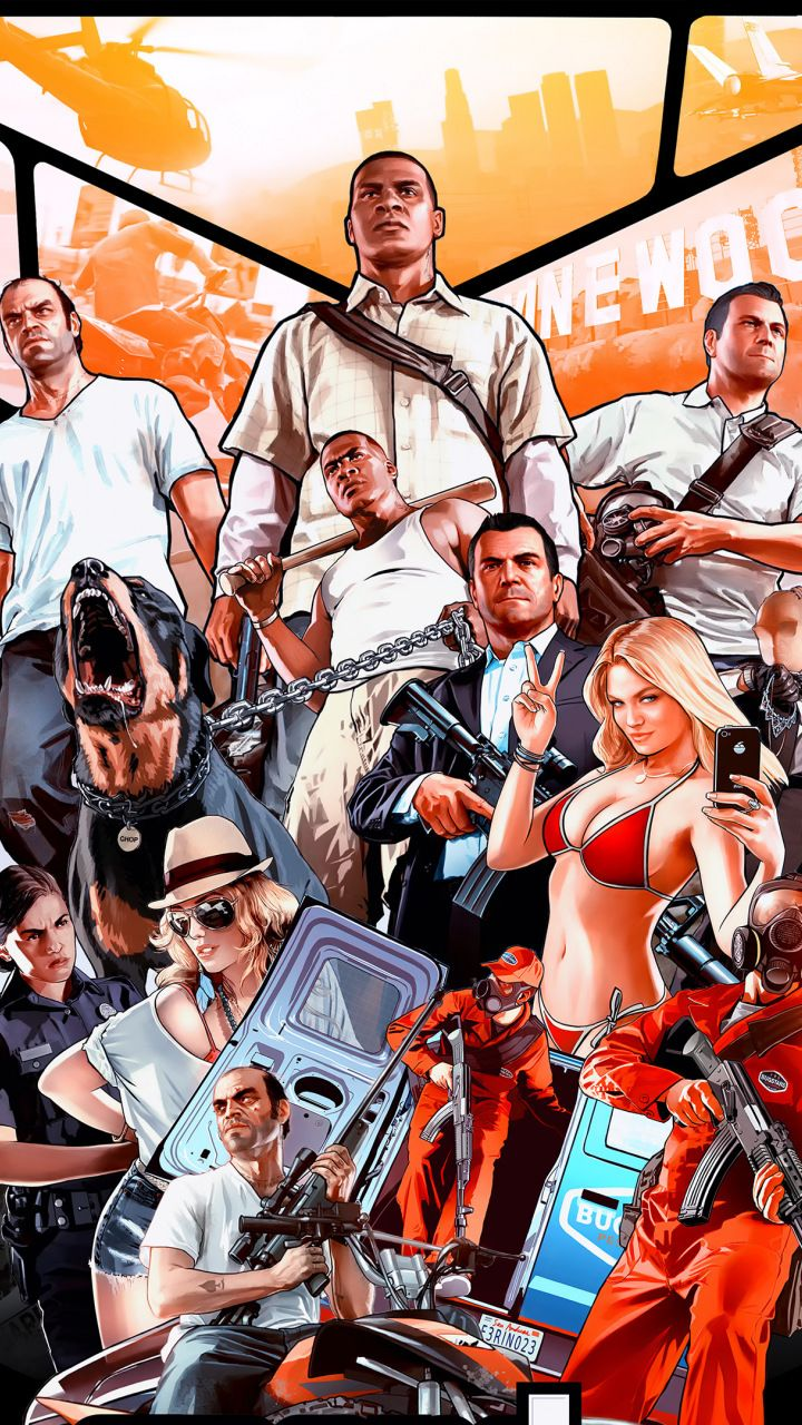 Grand Theft Auto V Poster Video Game 720x1280 Wallpaper
