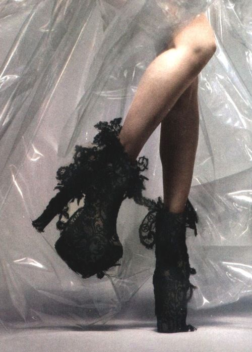 Lady Gaga by Nick Knight for Vanity Fair Armani Privé custom-made dress and boots