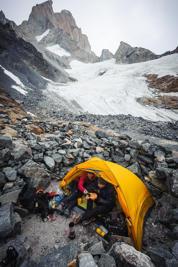 Tony Hoare and Jo Williams at the Piedra Negra bivy, below their objective, Aguja Guillaumet, Patagonia