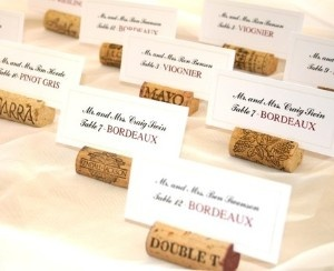 wine cork place card holders could also hold business cards