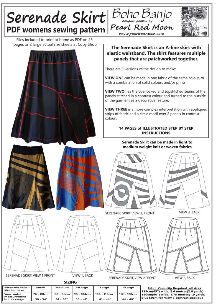 Serenade - patch and applique skirt, womens PDF sewing pattern by Pearl Moon
