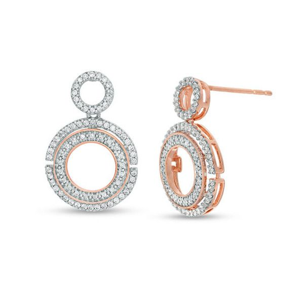 1 2 Ct T W Diamond Circle Drop Earrings In 10k Rose Gold In 2020 Earrings Rose Gold Drop Earrings