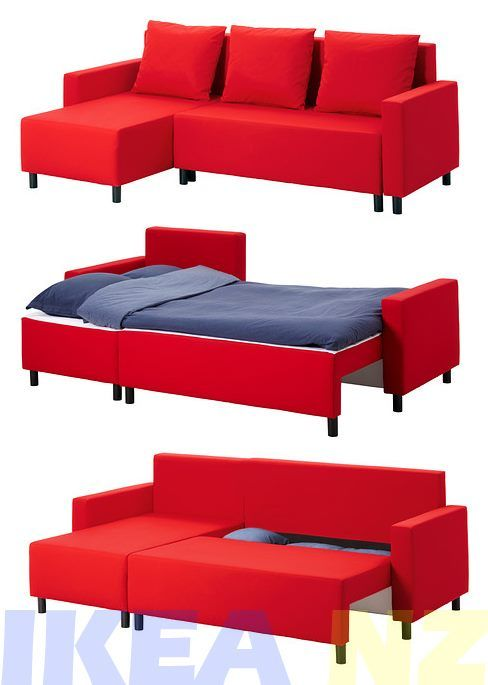 Ikea Lugnvik Sofa Bed With Chaise Longue Red Trade Me