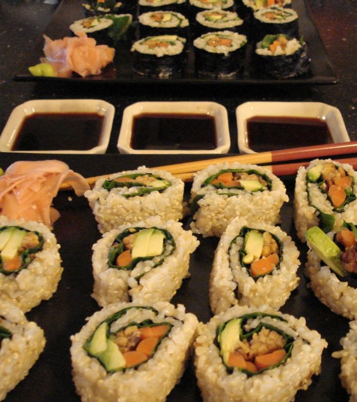 Brown rice sushi.