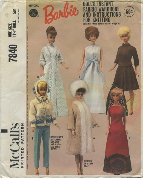 """Year 1965 ~ Vintage Barbie™ Doll Clothes Sewing Pattern   Official Mattel Barbie® Doll's Instant Fabric Wardrobe & Instructions for Knitting, also fits Miss Barbie® & Midge™   McCall's 7840   One Size - 11½"""" Doll"""
