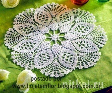 Hoje tem Flor !!!: Centro de mesa com gráfico - Toalhinha em crochê