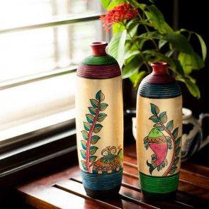 Madhubani Handpainted Bottle Shape Terracotta Vase Set #bottlesvases #Vases #Pots